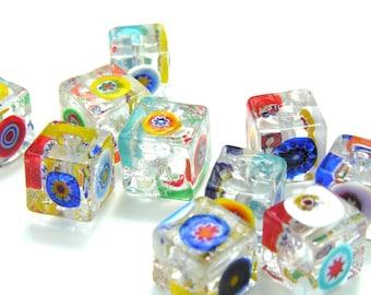 Clear Millifiore Cube Venetian Glass Beads   2