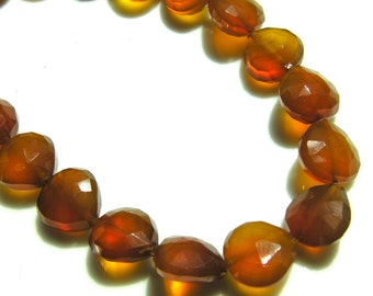 Brown Chalcedony Long Drilled Faceted Heart Briolettes  4