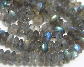 Fine Labradorite Faceted ROndelle Beads  15