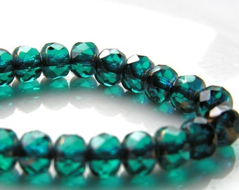 Teal and Copper Gemstone Faceted Rondelle Beads   25