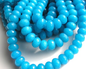 Vivid Turquoise Blue Jade 12mm Faceted Rondelle Beads  FULL STRAND