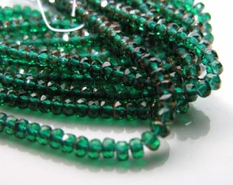 Emerald Green and Copper 5x3mm Fire PolishGemstone Donut Beads