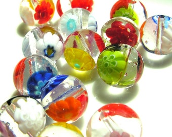 Clear Millifiori 10mm Round Beads  10