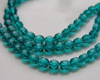 Teal 6mm Round Faceted Fire Polish Czech Glass Beads   25