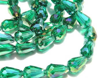 Emerald Green Faceted Long Drilled Crystal Beads   6