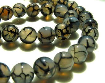 Black and White Fire Agate 10mm Round Beads  10