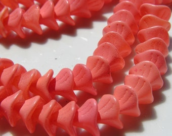 Opaque Peach Three Petal FLower Czech Glass Beads  12