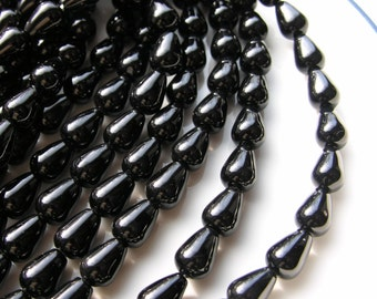 Black Onyx Long Drilled Smooth Teardrop Beads  10
