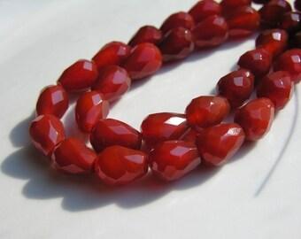 Carnelian Faceted Teardrop Beads Long Drilled   6