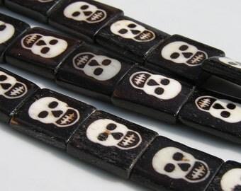 White on Black Bone Skull Beads  6