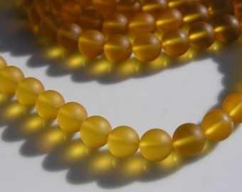 Amber Sea Glass 8mm Round Beads