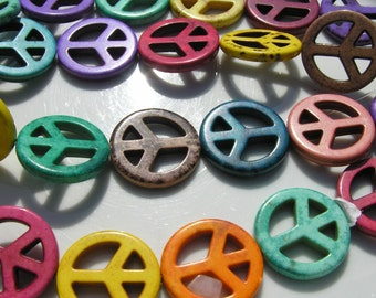 Colorful Peace Sign Pendant Beads  2