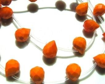 Orange Quartz Faceted Briolettes 12x8mm  4