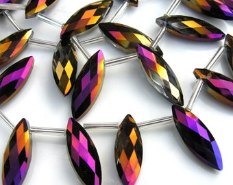 Metallic Purple and Bronze Faceted Marquis HUGE Crystals  2