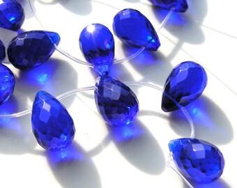 Dark Sapphire Blue Quartz Faceted Briolette Pendant Bead   1