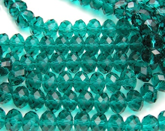 Teal Crystal Faceted Rondelles  10x8mm   10