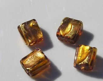 Topaz and Gold Foil Venetian Glass Square Beads   2