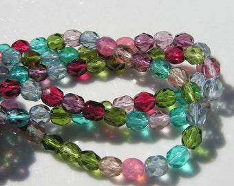 Tourmaline Mix Faceted 6mm Czech Glass FIre Polish Round Beads   25