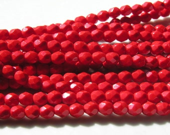 Pure Red 6mm Faceted Round Fire Polish Czech Glass Beads   25