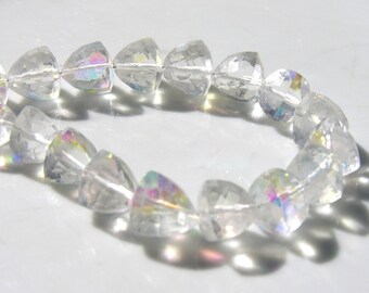 Spectacular Rock Crystal AB Long Drilled Trillion Beads   2