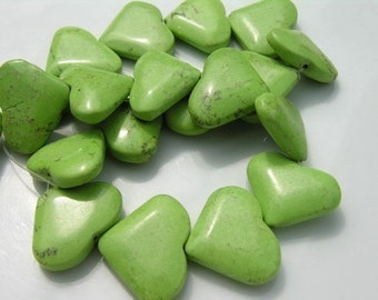 SALE  Apple Green Turquoise Heart Pendant