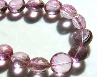 AAA Quality Stunning PInk Mystic Quartz Cushion Coin 13mm   Beads    2