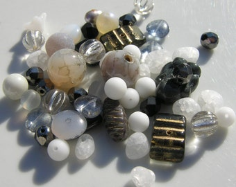 Wiggles Grey, Black and White Stone and Czech Glass Bead Mix