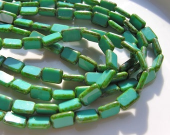 Turquoise 12mm Table Cut Czech Glass Rectangle Beads   10