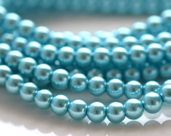 Turquoise Blue 6mm Glass Pearl Beads  FULL STRAND