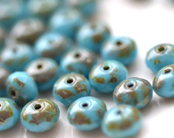 Deep Turquoise Picasso 7x4mm Czech Glass Rondelle Beads    25