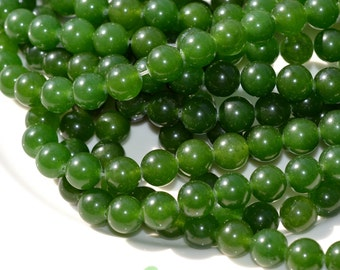 Pine Green 10mm Dyed Jade ROund Beads   FULL STRAND