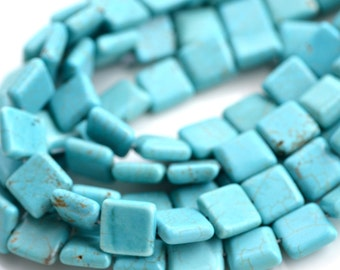Magnesite Turquoise 13mm Square Beads   FULL STRAND