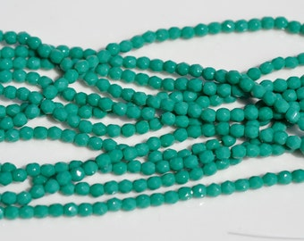 Persian Turquoise 3mm Faceted Fire Polish Rounds   50