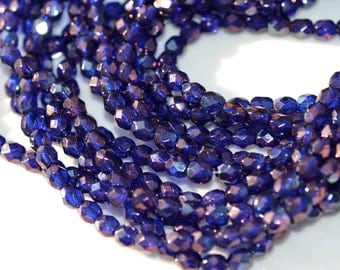 Cobalt Blue Vega 4mm Faceted Fire Polish Round Beads    50