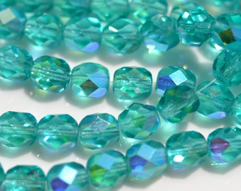 Teal AB 6mm Faceted Fire Polish Round Czech Glass Beads     25