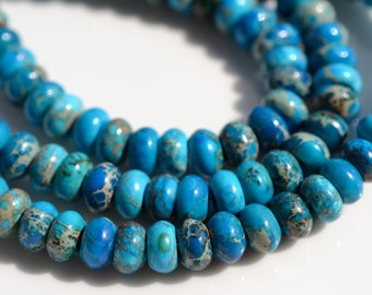 Blue IMpression Jasper SMooth Rondelle Beads  FULL STRAND