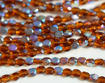 Dark Topaz AB 4mm Faceted Fire Polish Coin Beads   50