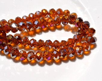 Dark Topaz AB 9x6mm Faceted Crystal Rondelle Beads    10