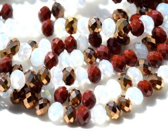 Dark Red, Gold and Pearl White Crystal Rondelle Mix   36