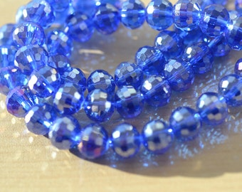 Dark Sapphire Blue with Silver Wash Disco Ball Crystal Rounds 10mm   10 beads