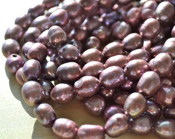Large Mauve Rice Freshwater Pearl  Full Strand