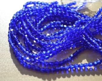 Deep Cobalt Blue 3mm Czech Glass Faceted Round Beads   50
