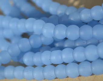 Periwinkle Frosted Glass 6mm Round Beads  8 inch strand