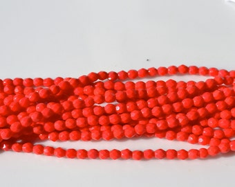Red 3mm Faceted Firepolish Round Czech Glass Beads   50