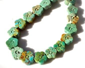 Natural Turquoise Carved Flower Beads   4