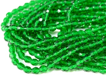 Emerald Green 4mm  Faceted Fire Polish Round Beads 50