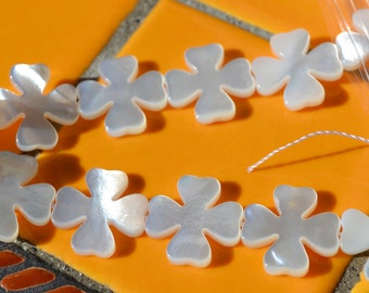 Mother of Pearl Clover Cross Beads   4