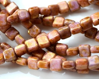 Rose Topaz Gold Luster 6mm Square Beads  25
