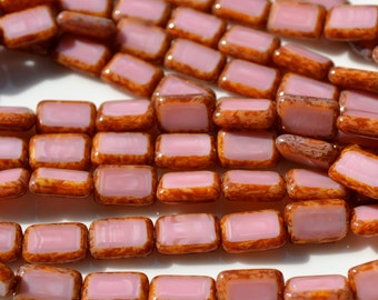 Pink PIcasso 12mm Rectangle Czech Glass Beads   10