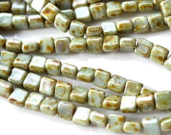Moss Green Picasso 6mm Square Beads 25